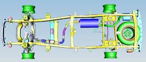荣威w5 的框架形底盘大梁结构示意图