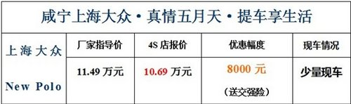咸宁上海大众新Polo优惠8000元送交强险