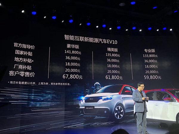 电咖首款纯电汽车EV10上市 补贴后5.98万起售-图1