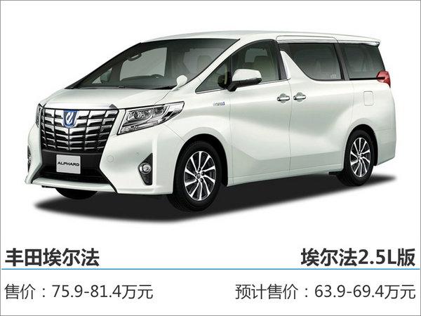 """丰田埃尔法将引入""""小排量""""版 售价下调-图-图1"""