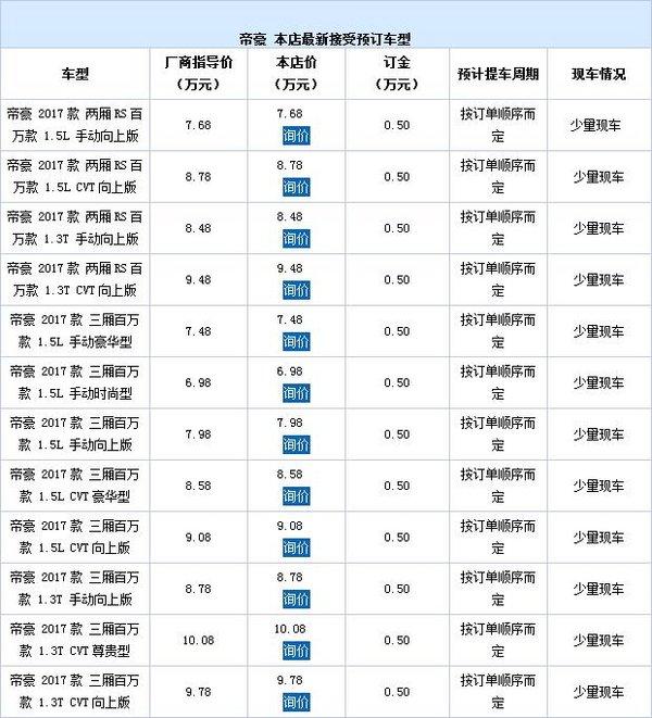 昌利源2017款帝豪可接受预订 订金5000元-图2