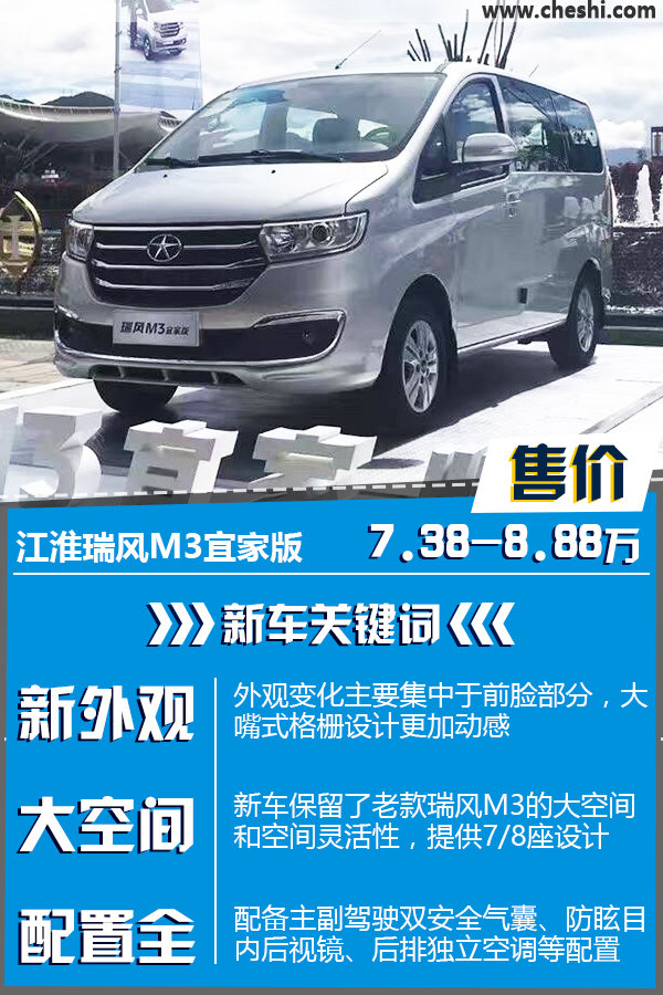 """应用新""""前脸"""" 江淮新瑞风M3售7.38万起-图1"""