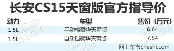 长安CS15天窗版正式上市 售价6.64-7.54万元-图2