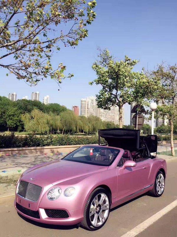 宾利GTC敞篷超跑 高级金属漆浪漫粉红色-图3