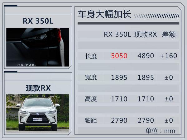 雷克萨斯RX七座版11月28日首发 车身加长160mm-图2