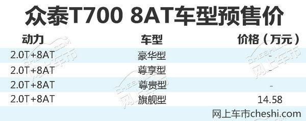 众泰T700 8AT版后天上市 预售最高14.58万元-图1