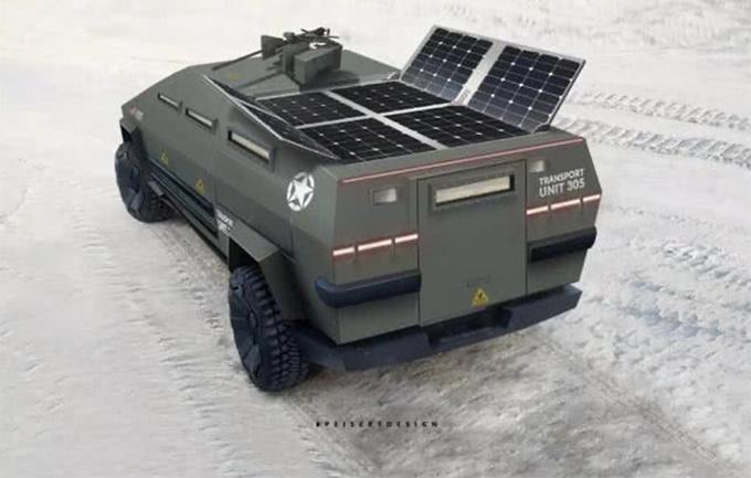 特斯拉Cybertruck变身军用装甲 科幻战场风格-图5
