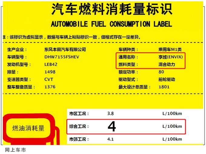 东风本田享域混动版曝光 油耗最低4升下半年上市-图2