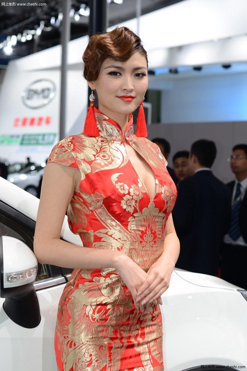 名车美女 2013上海车展旗袍美女;
