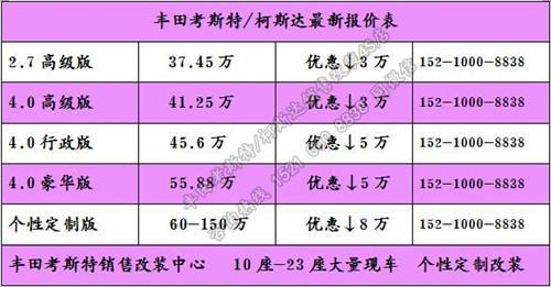 丰田考斯特11座商务车改装价格