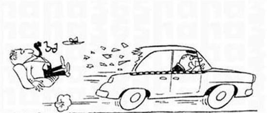 汽车行驶公路手绘卡通图