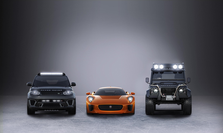 :捷豹c-x75、路虎揽胜运动版svr高性能版和配备超大型越野轮胎高清图片